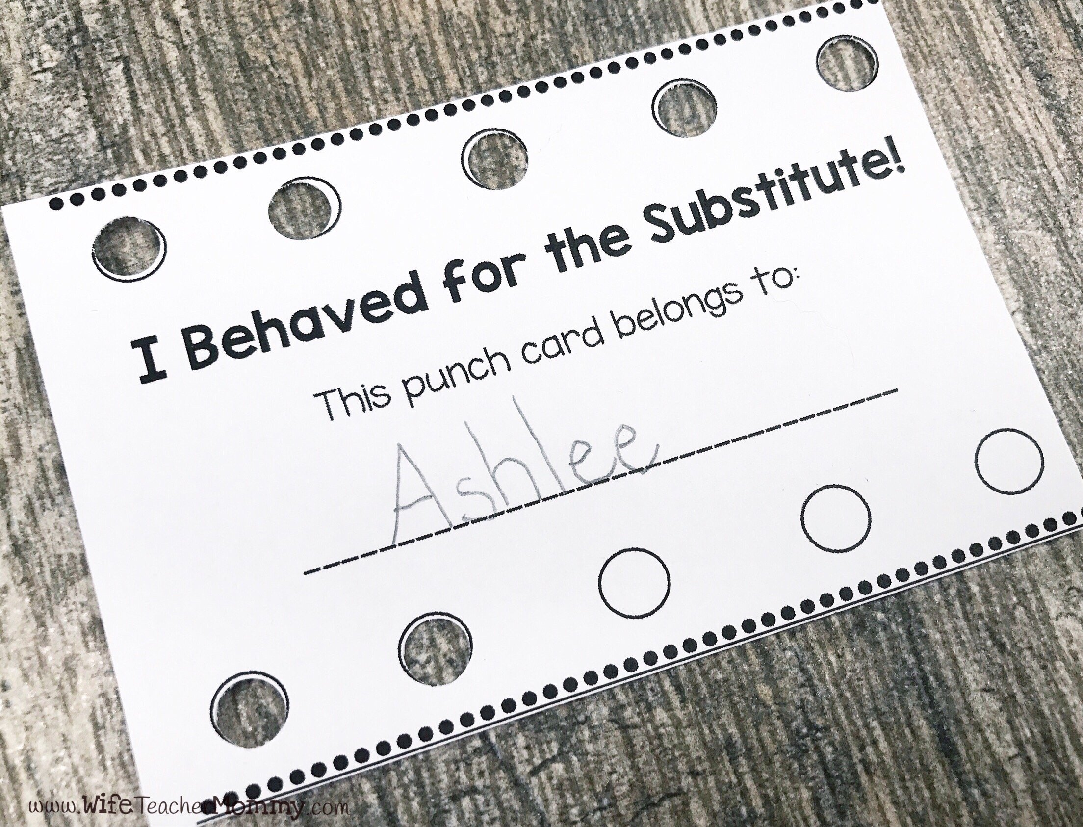 Use substitute punch cards as an incentive for good behavior!