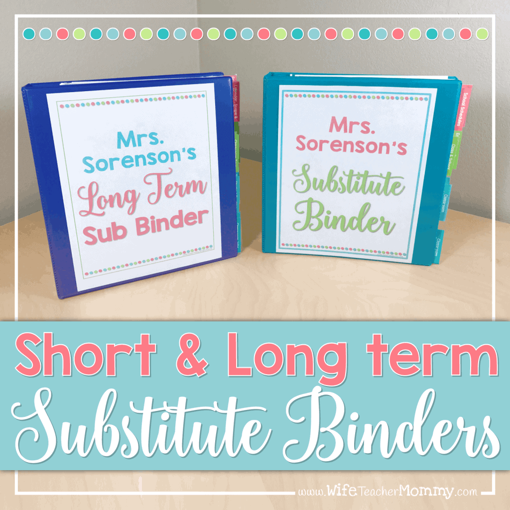 Terms Of Use: Editable Substitute Binder (Sub Binder)