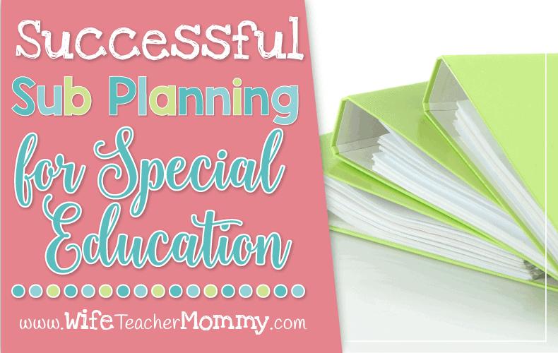 Sub Planning Special Education Header