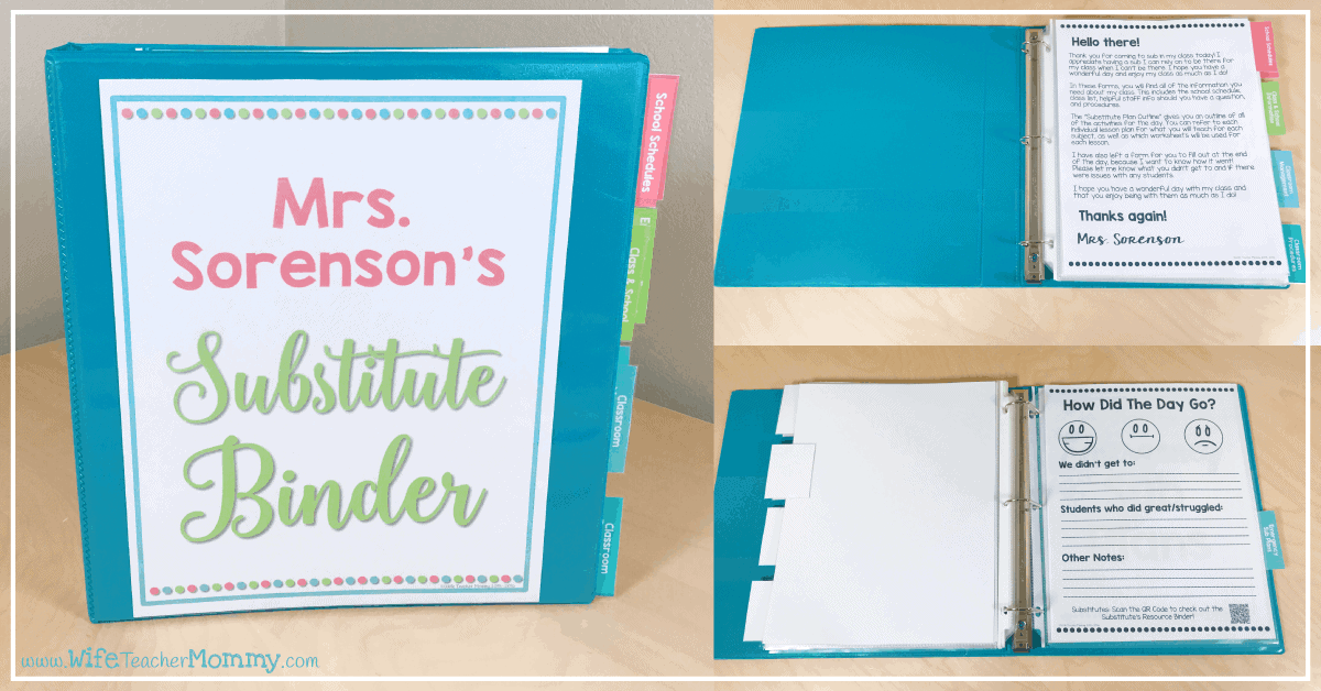 Free Editable Substitute Binder Forms - Wife Teacher Mommy