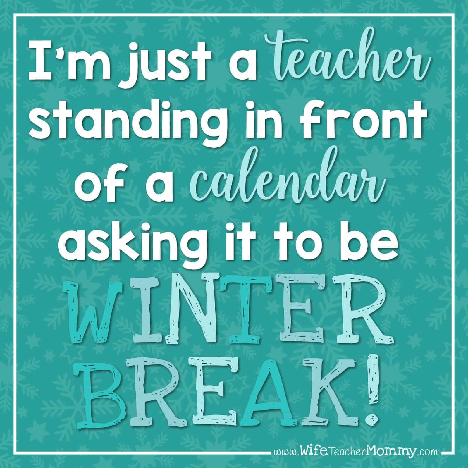 I'm just a teacher standing in front of a calendar asking it to be winter break!