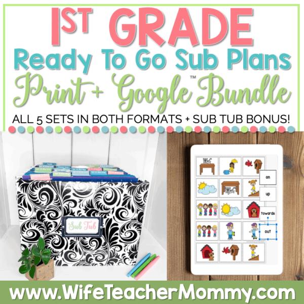 sub tub + emergency first grade sub plans