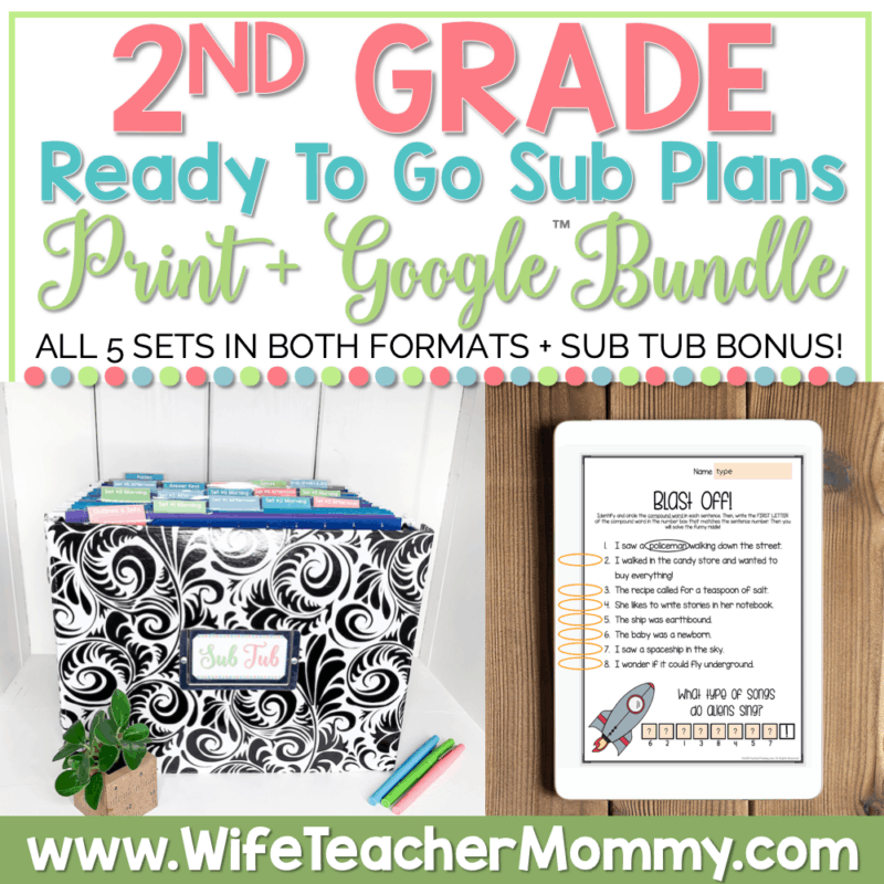 2nd Grade Sub Plans Bundle Print and Google