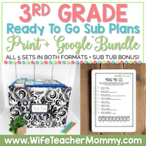 emergency sub plans for 3rd grade