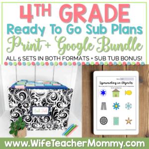 sub tub + 4th grade emergency sub plans