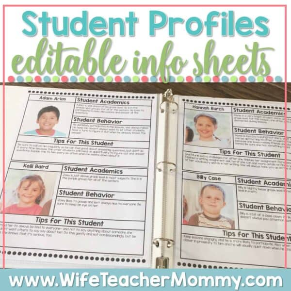 These student info sheets will help you get organized for substitute teachers, volunteers, aides, paraprofessionals, and yourself!