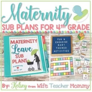 maternity leave sub plans 4th grade