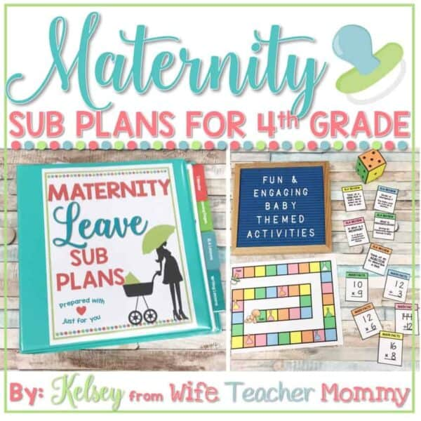 maternity leave sub plans 4th grade