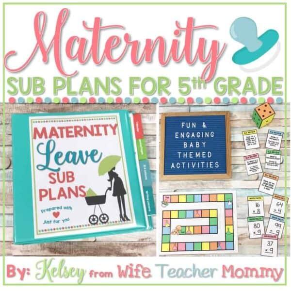 maternity leave sub plans 5th grade