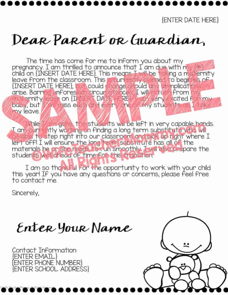 Letter To Parents From Teacher Beginning Of The Year.Editable Maternity Leave Letter To Parents Wife Teacher Mommy
