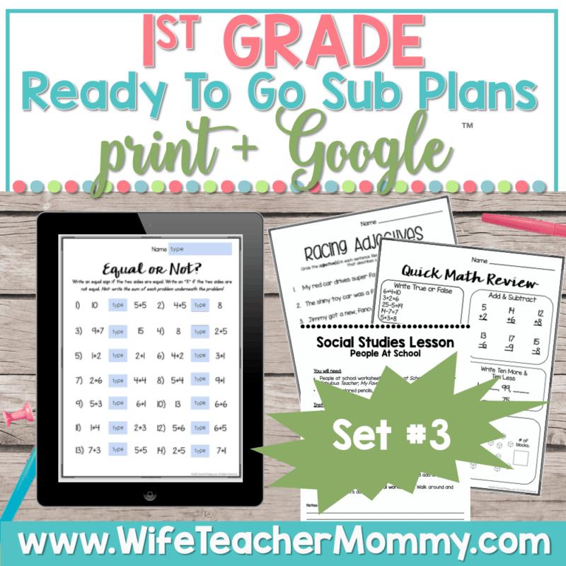1st Grade Sub Plans Set 3 Print and Google