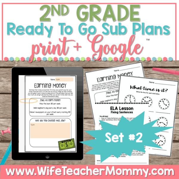 2nd Grade Sub Plans Set 2 Print and Google