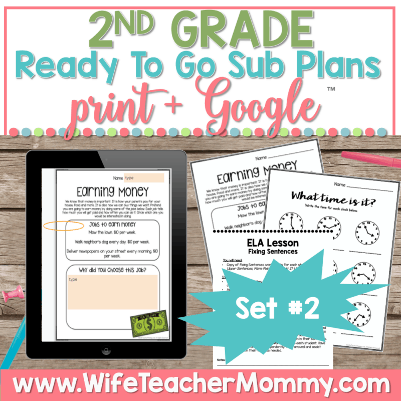 2nd Grade Sub Plans Set 2 Print and Google