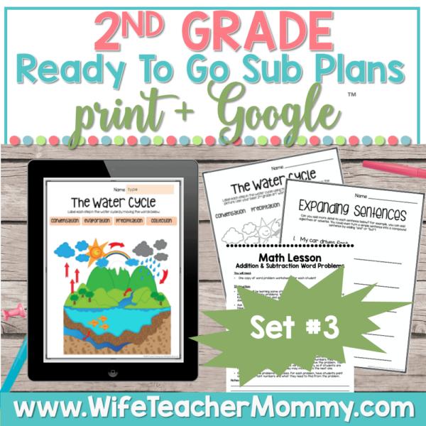 2nd Grade Sub Plans Set 3 Print and Google