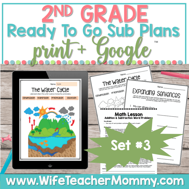 2nd Grade Sub Plans Set 3 Print and Google