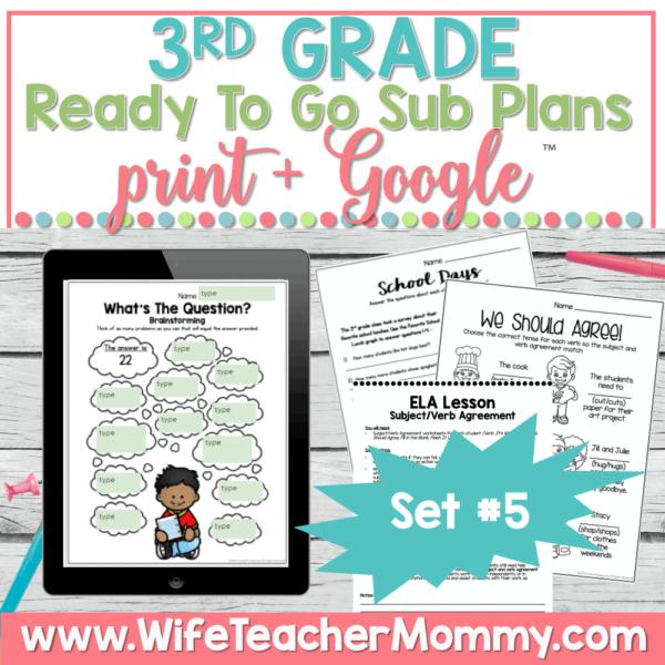 3rd Grade Sub Plans Set 5 Print and Google