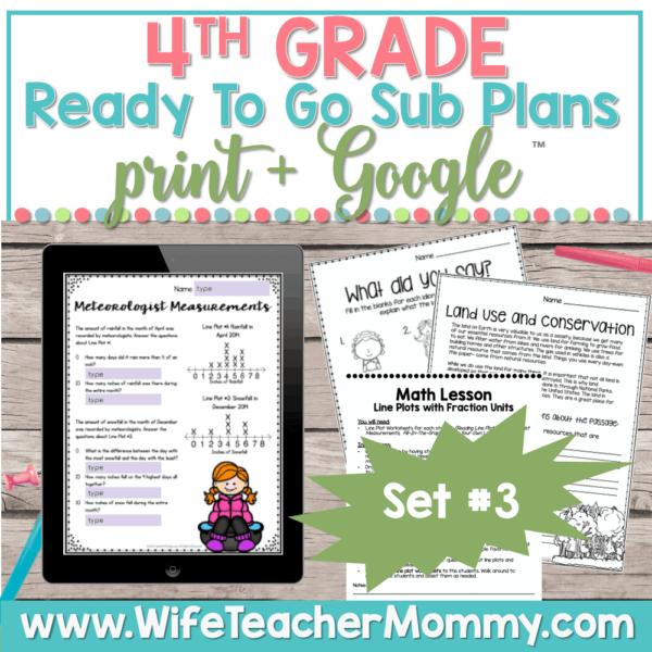 4th Grade Sub Plans Set 3 Print and Google