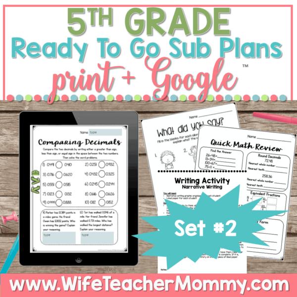 5th Grade Sub Plans Set 2 Print and Google (1)