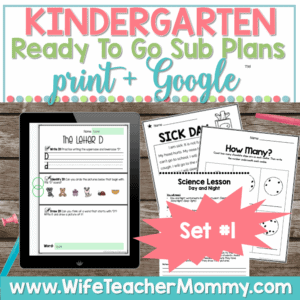 Kindergarten Sub Plans Set 1 Print and Google