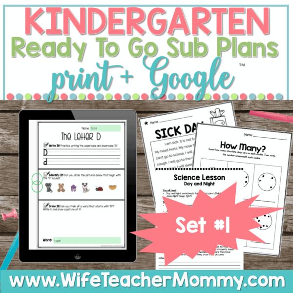 Kindergarten Sub Plans Set 1 Print and Google