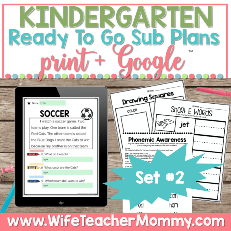 Kindergarten Sub Plans Set 2 Print and Google
