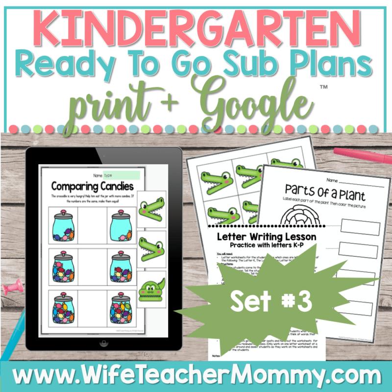 Kindergarten Sub Plans Set 3 Print and Google