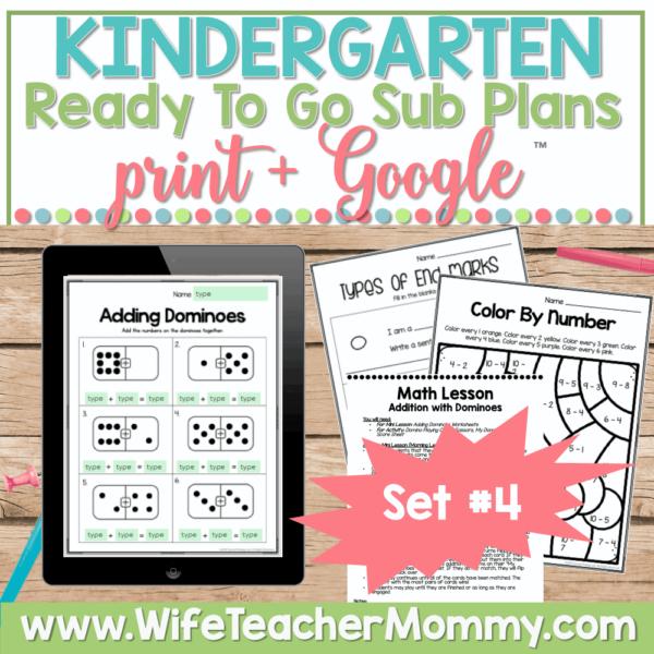 Kindergarten Sub Plans Set 4 Print and Google