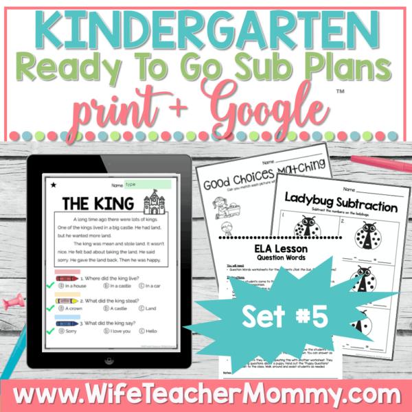 Kindergarten Sub Plans Set 5 Print and Google
