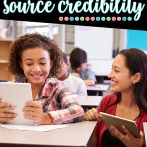 How to teach source credibility to elementary students. This post will give you tips and tricks to help your students find credible sources on the internet and informational text books for their research. Great for a science research project or a social studies research project. Meets common core standards as well as other research standards such as TEKS. Use for research writing. Perfect for 1st, 2nd, 3rd, 4th, 5th, and 6th grade teachers to use in their classroom. Great for upper elementary.