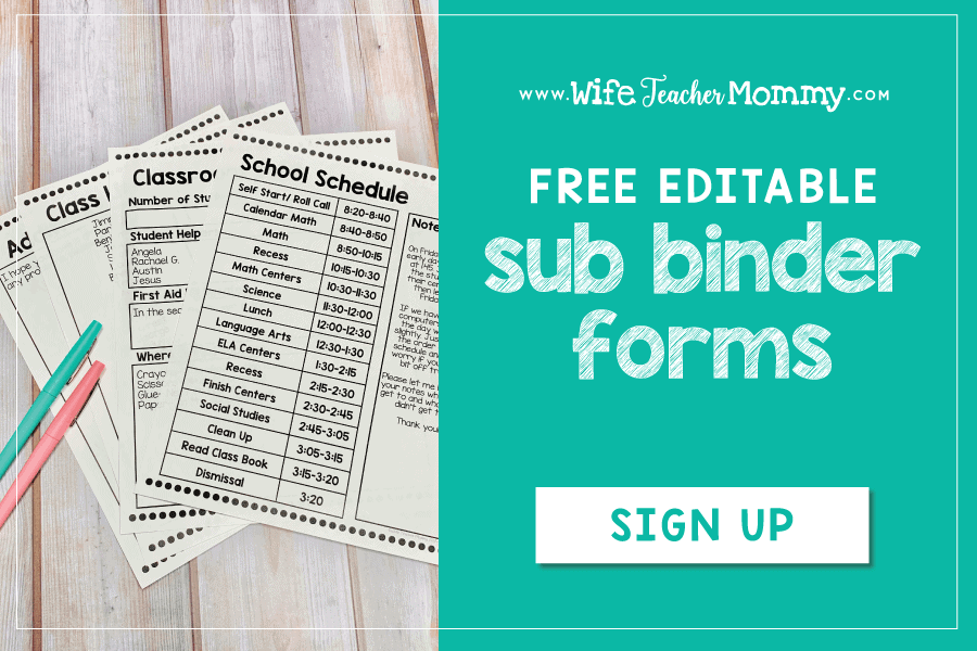 Be ready at a moment's notice with emergency sub plans! Get started for FREE with these easy prep resources, including editable binder cover and forms, sub punch cards for student behavior, thank you cards to leave for the sub, and lesson plans. Lesson plans included for pre-k, kindergarten, 1st grade, 2nd grade, 3rd grade, 4th grade, 5th grade, and 6th grade. Each grade level includes language arts, math, art, and a brain break! Great for guest teachers, relief teachers #subplans #substitute