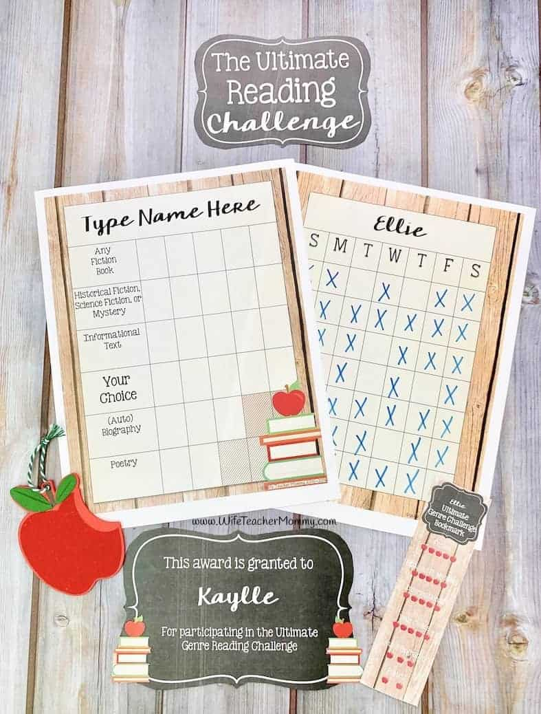 The ultimate reading challenge is a great way to motivate students to read! A book challenge for kindergarten, 1st, 2nd, 3rd, 4th, 5th, 6th grades and homeschool. Includes reading logs, reading awards, bookmarks, and more!