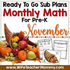PreK November Math Sub Plan Cover