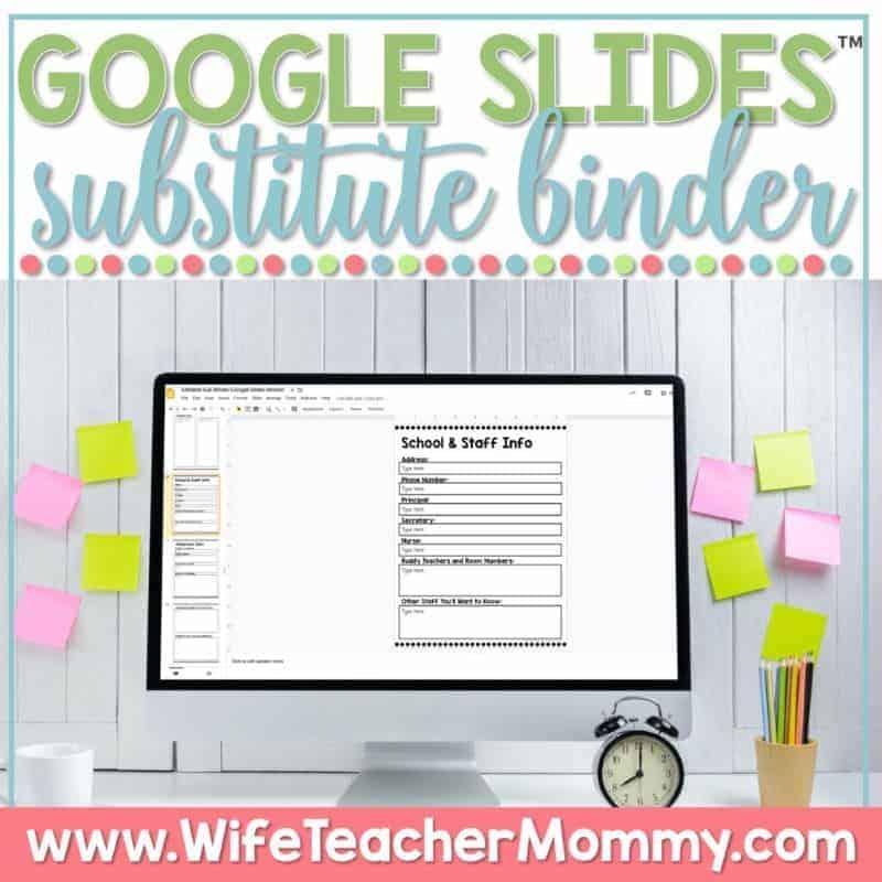 Link to Google Slides Substitute Binder