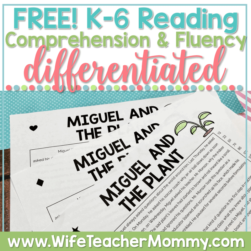 Free, differentiated reading comprehension & fluency passages