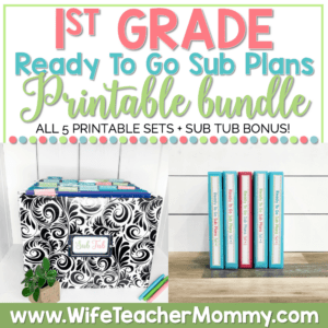 1st Grade Sub Plans Print Bundle