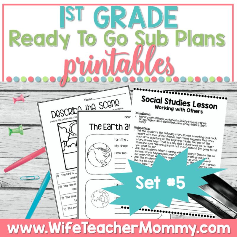 1st Grade Sub Plans Set 5 Printable