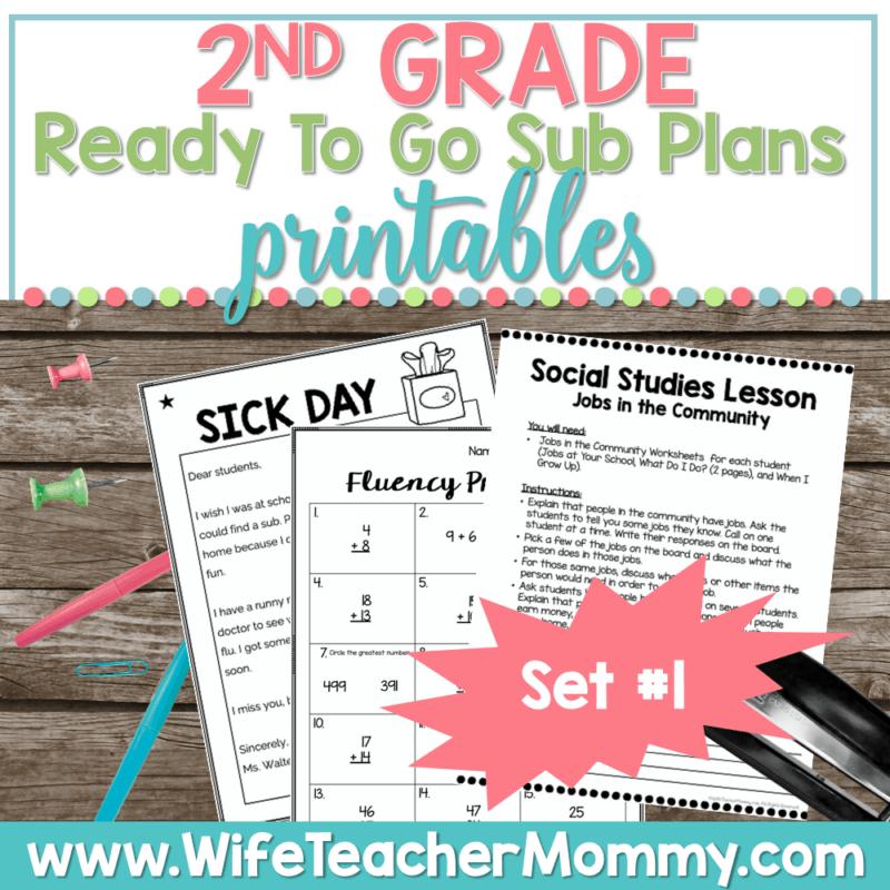 2nd Grade Sub Plans Set 1 Printable