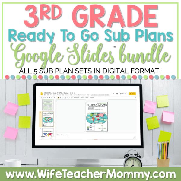 3rd Grade Ready To Go Sub Plans Google Bundle