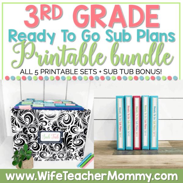 3rd Grade Ready To Go Sub Plans Printable Bundle