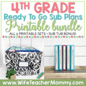 4th Grade Ready To Go Sub Plans Printable Bundle