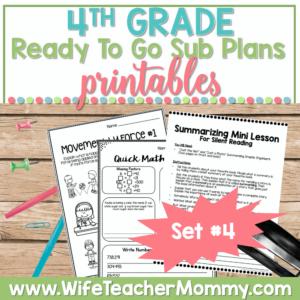 4th Grade Sub Plans Set 4 Printable