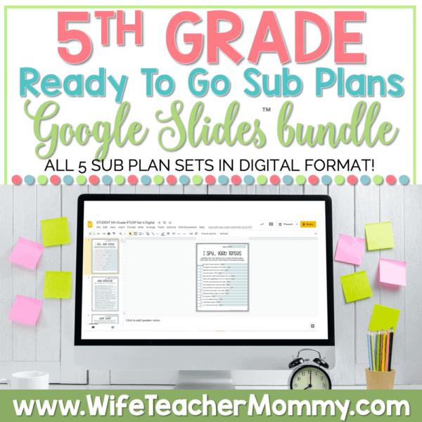 5th Grade Ready To Go Sub Plans Google Bundle