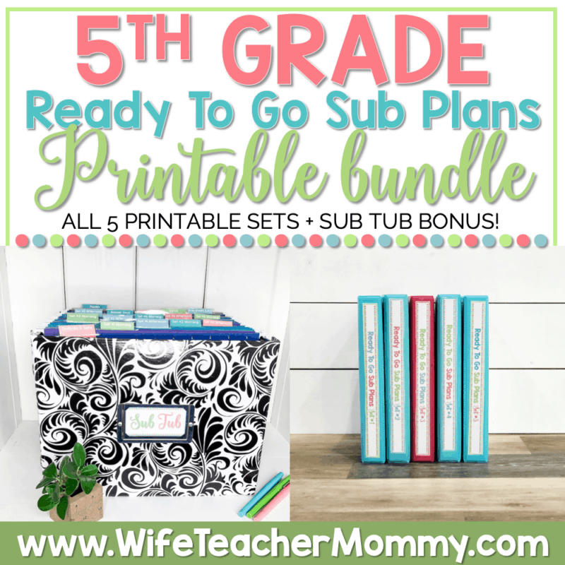 5th Grade Ready To Go Sub Plans Printable Bundle