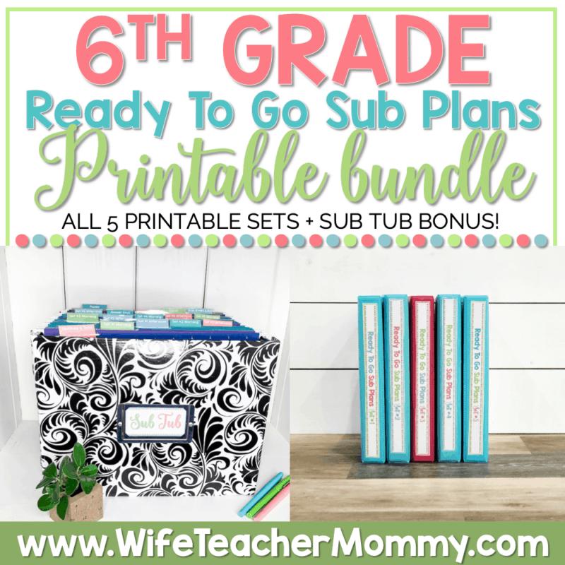 6th Grade Ready To Go Sub Plans Printable Bundle