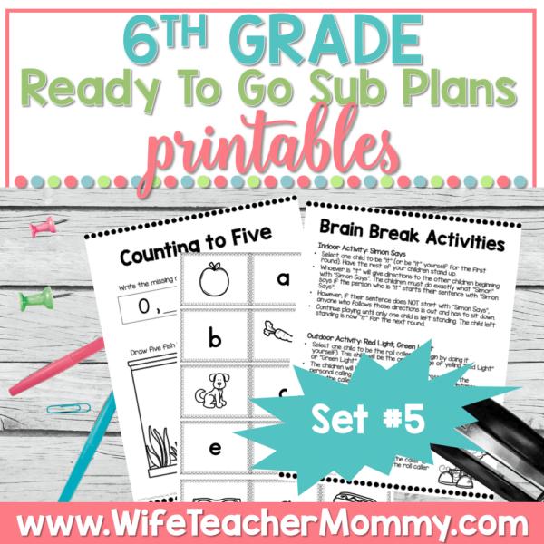 6th Grade Sub Plans Set 5 Printable