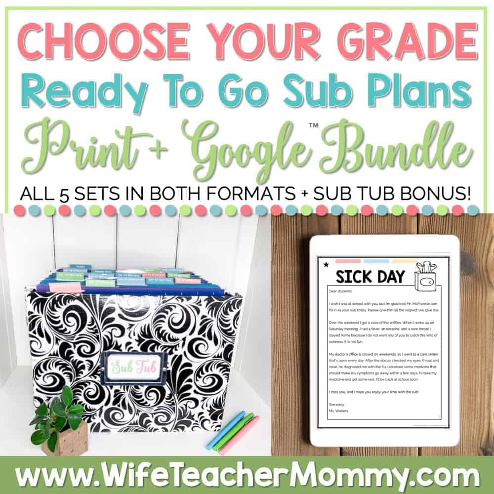 READY TO GO SUB PLANS CHOOSE YOUR GRADE