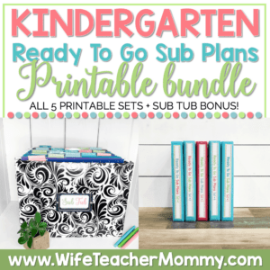 Kindergarten Sub Plans Printable Bundle