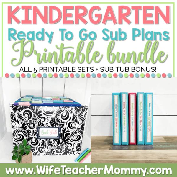 Kindergarten Sub Plans Printable Bundle