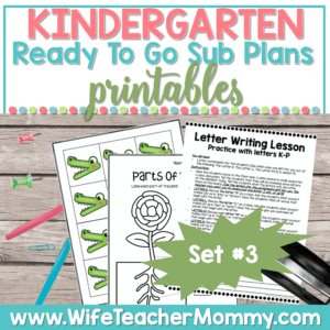 Kindergarten Sub Plans Set 3 Printable