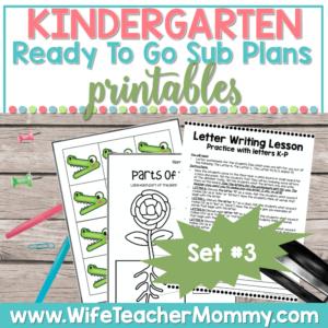 Kindergarten Sub Plans Set 3 Printable